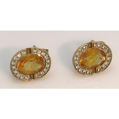 9ct Gold Natural Citrine Earrings