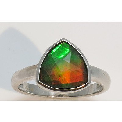 Sterling Silver Ring - set with stunning Ammolite