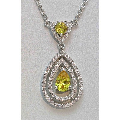 Sterling Silver Necklace - Golden-yellow & White CZ