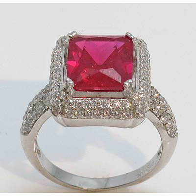 Sterling Silver Ring - Ruby Red & White CZ