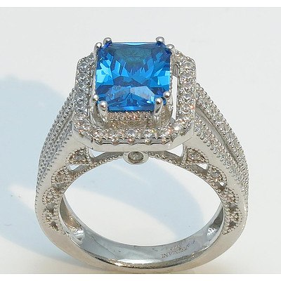 Sterling Silver Ring - Topaz Blue & White CZ