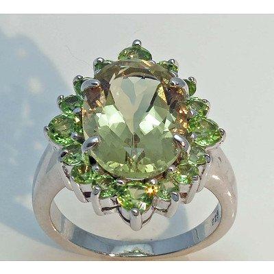 Sterling Silver Ring - Green Quartz & Peridot