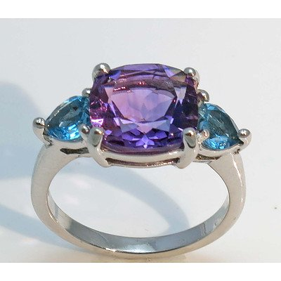 Sterling Silver Ring - Amethyst & Dark Blue Topaz