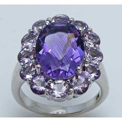 Sterling Silver Ring - Amethyst-Dark & Light