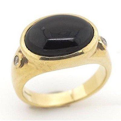 9ct Gold Black Onyx & Diamond Ring