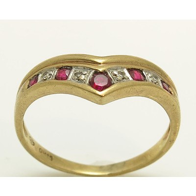 Vintage 9ct Gold Ruby & Diamond Ring
