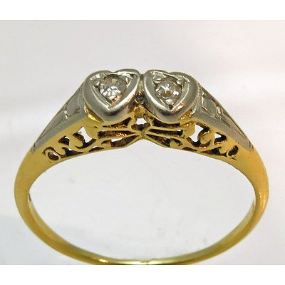 Vintage 18ct Gold two stone Diamond Ring - pierced gallery