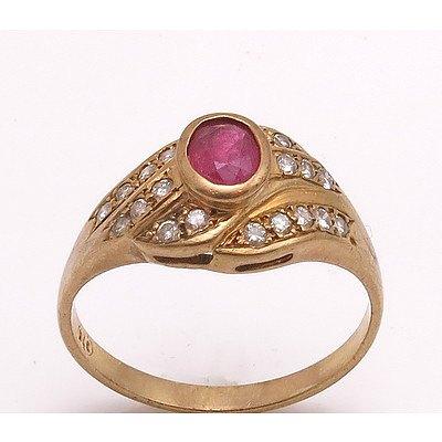 Vintage 9ct Gold Ruby & Diamond Ring