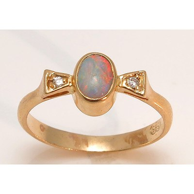 14ct Rose Gold Solid Australian Opal Ring