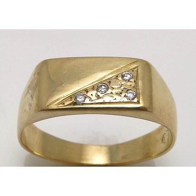 9ct Gold Diamond-set Signet style ring