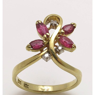Vintage 14ct Gold Ruby & Diamond Ring