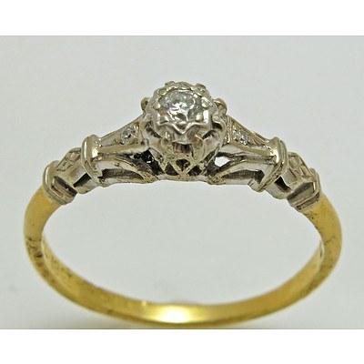 Vintage Diamond Ring - 18ct Gold & Platinum