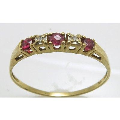 Ruby & Diamond Ring - 9ct Gold