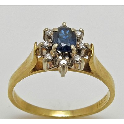 Vintage Sapphire & Diamond Cluster Ring