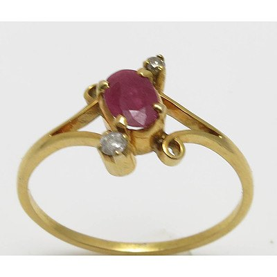 Ruby & Diamond Ring -14ct Gold (tested)