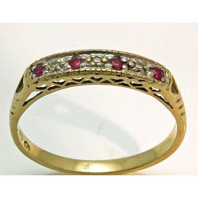Vintage Ruby & Diamond Ring - 9ct Gold