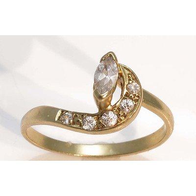 Vintage CZ Ring - upswept design