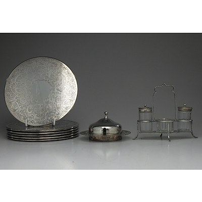 Six Strachan Coasters, Perfection Plate Butter Dish and Silver Plate Cruet Set