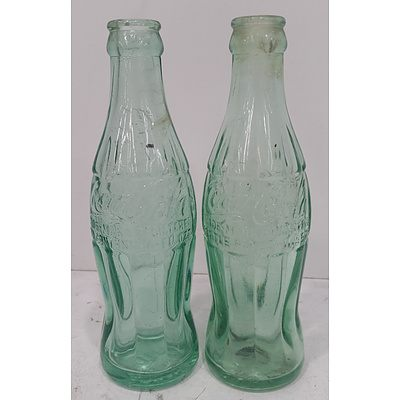 Rare Collectable WW2 1944 Green Coke Bottle - Lot Of 2