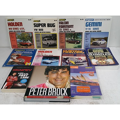 Bulk Lot Of Automotive Service Manuals & V8 Supercar Books.