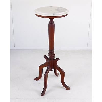 Vintage American Mahogany and Marble Top Pedestal