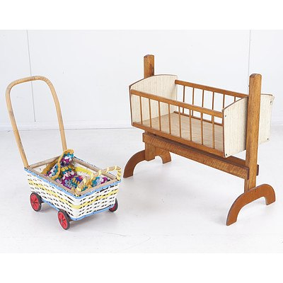 Vintage Children's Rocking Crib and Pram