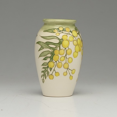 Moorcroft Golden Wattle Patterned Vase and Dish, Designed by Sally Tuffin, Circa 1990