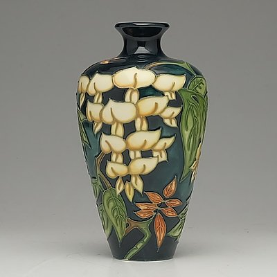 Moorcroft Yellow Wisteria Vase Designed by Philip Gibson, 1998