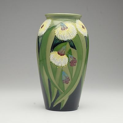 Limited Edition Moorcroft Tasmanian Blue Gum Patterned Vase Designed by Sally Tuffin, Circa 1988