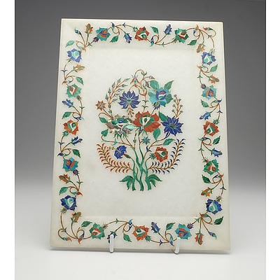 Indian Agra Region Marble Plaque Finely Inlaid with Semi Precious Stones and Shell, Late 20th Century