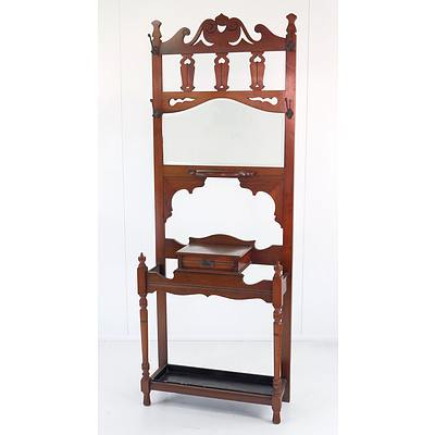 Good Edwardian Arts and Crafts Walnut Mirror Back Hall Stand, Early 20th Century