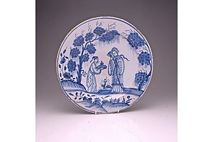 Large English Delft Plate Decorated in Chinoiserie Style with Courtesans, Mid 18th Century, Probably Bristol