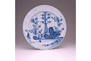 Large English Delft Plate Decorated with a Chinese Garden, Mid 18th Century, Probably Bristol