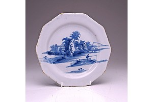 Unusual English Delft Decagonal Plate, Mid 18th Century