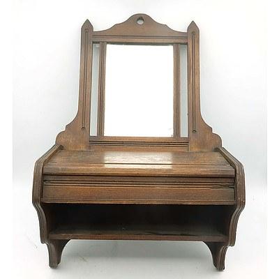Edwardian Maple Wall Mount Shaving Mirror