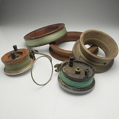 Five Vintage Fishing Reels, Including Alvey