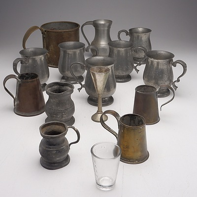 Group of Antique Vintage Pewter and Brass Tankards and Measures, Including a Brass Measure Goulburn 1923, Tudric Pewter Ware and Les Etains Du Manoir