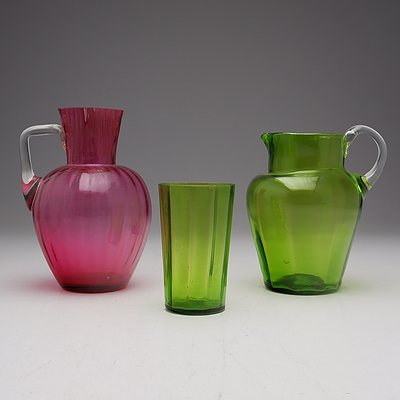 Victorian Coloured Glass Jugs and a Cup
