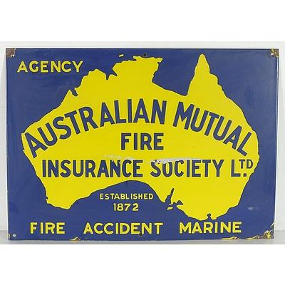 Vintage Australian Mutual Fire Insurance Society Enameled Tin Sign