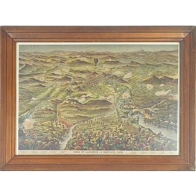 Vintage Coloured Print, Siege of Ladysmith - A Bird's-Eye View