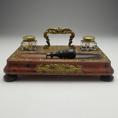 Antique Brass Bound Oak Desk Set with Two Cut Crystal Inkwells and a Seal Stamp
