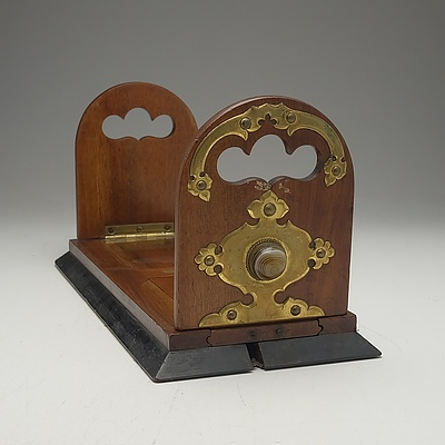 Late Victorian Beltjemann's Brass Bound Oak Book Slide With an Inlaid Gemstone at Either End Circa 1880
