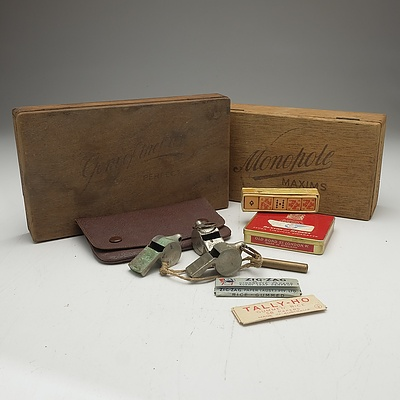 Two Vintage Cigar Boxes, Cigarette Pouch, Capstan Pencil, Vintage Dice, Whistles and More