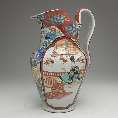Victorian Hand Painted Imari Style Jug with Old Stapled Repairs, England Circa 1880