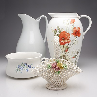 Group of Porcelain Jugs, Including Meakin Stoke on Trent and More