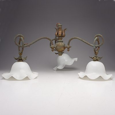 Antique Electrolier with Three Milk Glass Shades