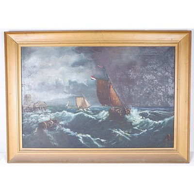 D. Thompson Early Seascape Oil on Canvas