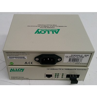 Alloy (POE200LC) POE200 Series 10/100Base-TX to 100Base-FX Converter - Lot of 26
