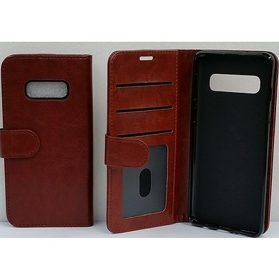 Brown Vinyl Wallet Case for Samsung Galaxy S10e - Lot of 70 - Brand New - RRP $1500.00