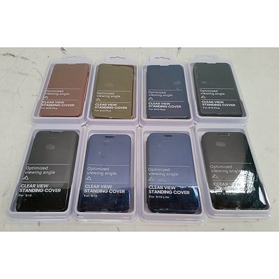Clear View Standing Cover for Samsung Galaxy S10, S10 Lite & S10 Plus - Lot of 60 *Brand New